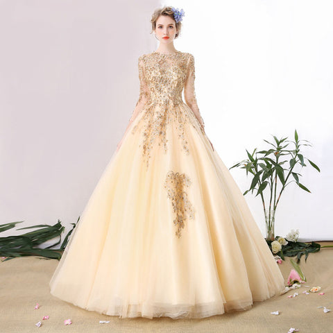 Champagne Gold Lace Evening Dress Bride Banquet Elegant 3/4 Sleeve Embroidery with Beading Long Tail Party Prom Dress - BETTIKE.com