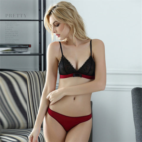 Sexy Lace thin cup wire free bra sexy lingerie with bow