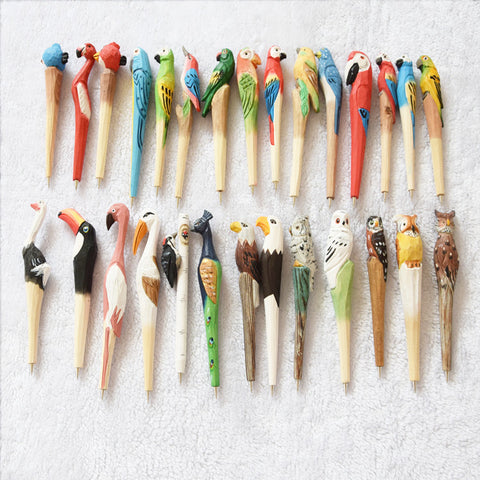 24 pieces Novelty Hand made wood pen Sculpture - BETTIKE.com