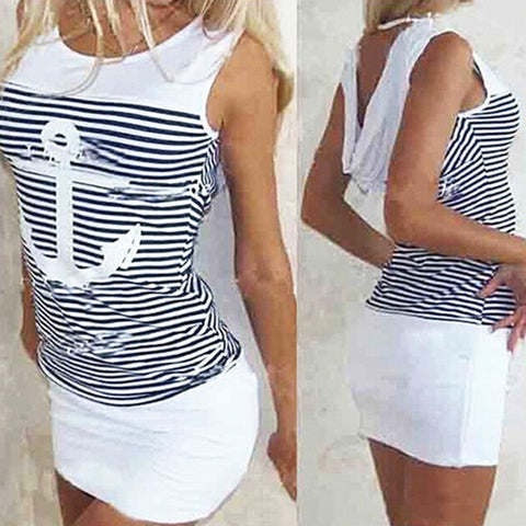 Anchor Stripe Dress Sleeveless O-neck Hooded Sexy Mini Dresses - BETTIKE.com