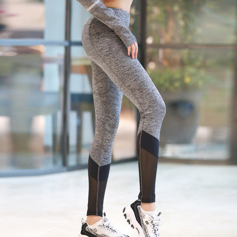 Gray Slim Sporting Pants Women Push Up Leggings Sexy Mesh Splicing Fitness