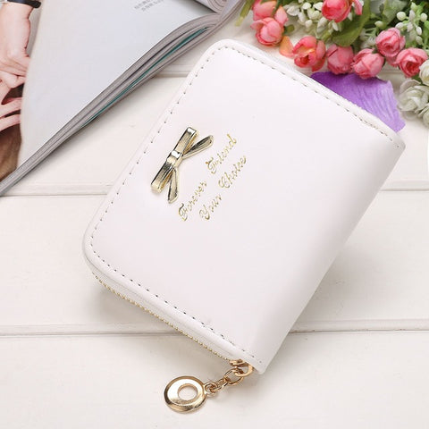 Women Bow-knot Small Purse PU Artificial Leather Wallet