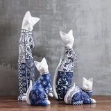 1 piece handmade resin blue and white kitten sculpture ornaments lunky cat figurine wedding gift modern home decors - BETTIKE.com