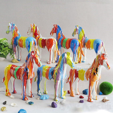 Exquisite hand painted multicolor horse statue