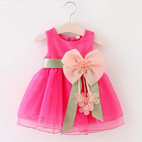 Baby Girls Dress Big Bow knot Infant Party Dress For Toddler Girl First Birthday Formal Tutu Dress - BETTIKE.com