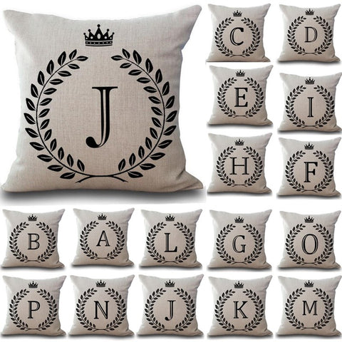 Crown Letter 43*43cm Cotton Linen Throw Pillow Cushion Cover - BETTIKE.com