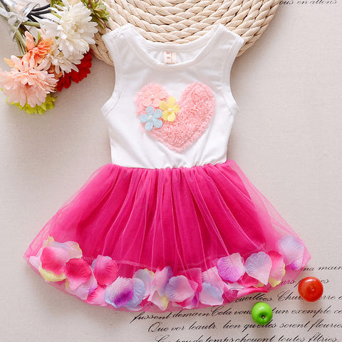 Summer sweet little girl love sleeveless dress cotton lace petals pink love children's Princess Dress