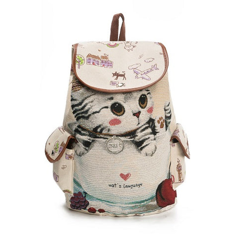 Casual Canvas School Backpack Women Lovely Cat Printed Drawstring Backpack - BETTIKE.com
