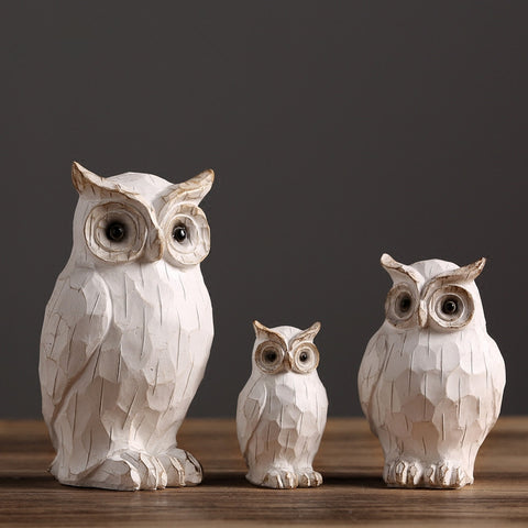 3 pcs retro owl figurine ornaments creative  sculpture for modern home decors - BETTIKE.com