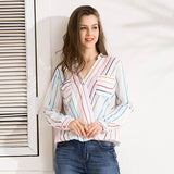 Autumn Fashion Colorful Striped Chiffon Cross V Neck Pocket Blouse - BETTIKE.com