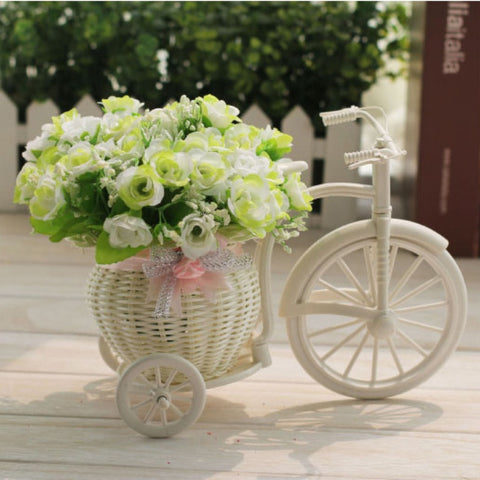 White Tricycle Bike Design Flower Basket Container For Flower Plant Home Decoration