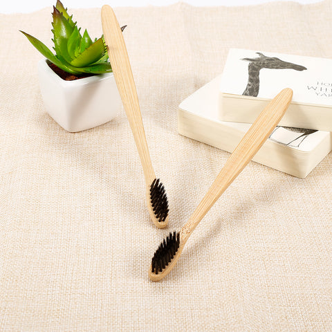 NEW 1pc Natural  Bamboo Charcoal Toothbrush Low Carbon Wood Handle