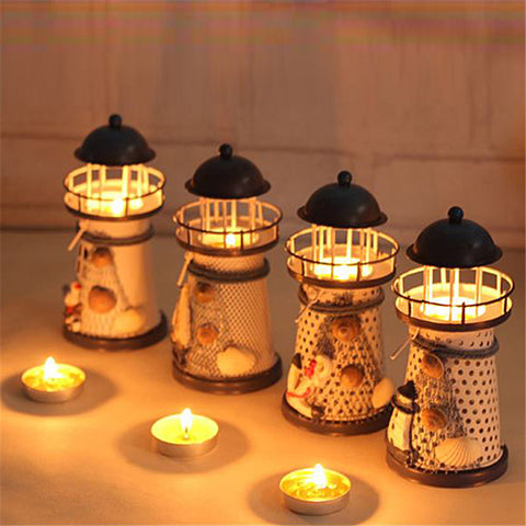 Mediterranean-style Iron Tower Candle Holder Lighthouse