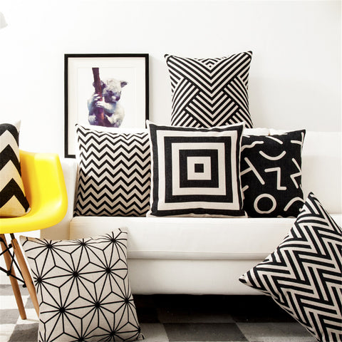 "Square 18"" White And Black Geometric Cushion Cover"