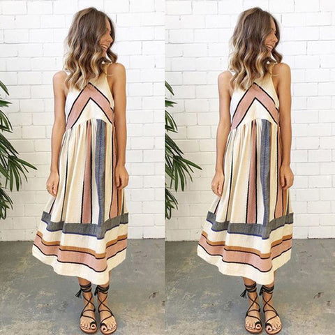 O Neck Stripe Patchwork Women Lady Summer Dress