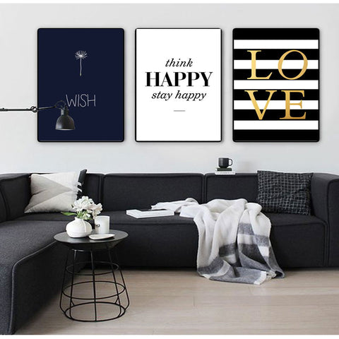 Modern Happy Quotes Canvas Painting Black White Wall Pictures