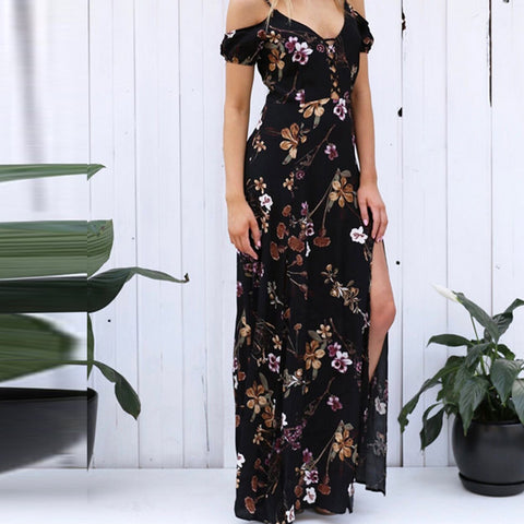Sexy Women V-neck Strap Boho Floral Maxi Dress Side Split