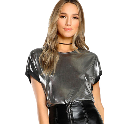 Silver Metal Color Silk Top - Love to Dress Collection