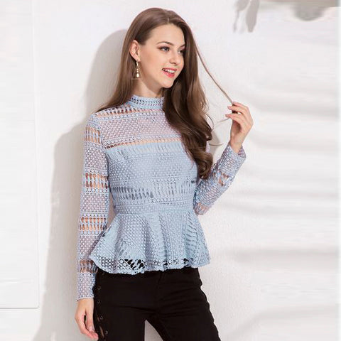 High Collar Lace Hollow Out Sexy Blouse - BETTIKE.com