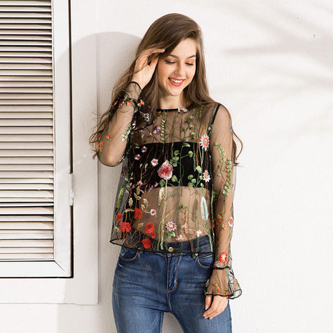 Spring Fashion Full Butterfly Sleeve Sexy Floral Embroidery Blouse