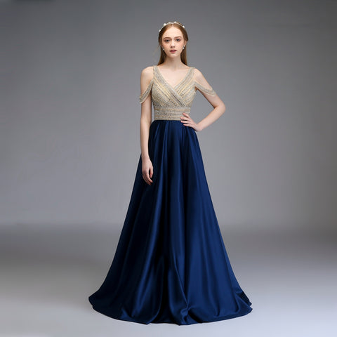 New High-end Evening Dress Elegant Banquet Luxury Satin V-neck Beading Floor-length Long Prom Party Formal Gown