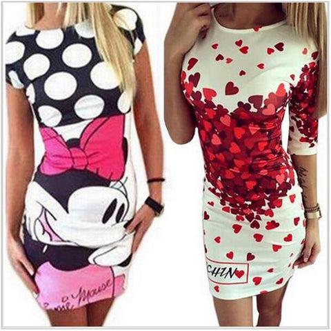 New Summer Dresses Fashion Women Clothing Robe Sexy Cartoon