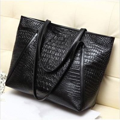 Casual Glossy Alligator totes large capacity ladies PU leather shoulder bag - BETTIKE.com