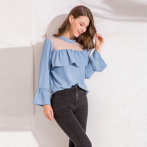 Mesh Patchwork Ruffles Sexy Tops Shirts Butterfly Sleeve Casual Blouse