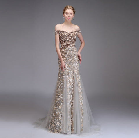 New High-end Evening Dress Luxury Banquet Lace Flower Beading Champagne Mermaid Long Prom Party Gown
