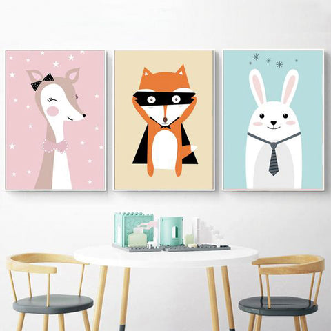 Deer Fox Rabbit Wall Art Posters And Prints Canvas Painting - BETTIKE.com