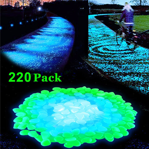 Stone Glow in the Dark Garden Luminous Pebbles 220 pieces - Garden Ornaments Rocks for Walkways Fish Tank Decorations