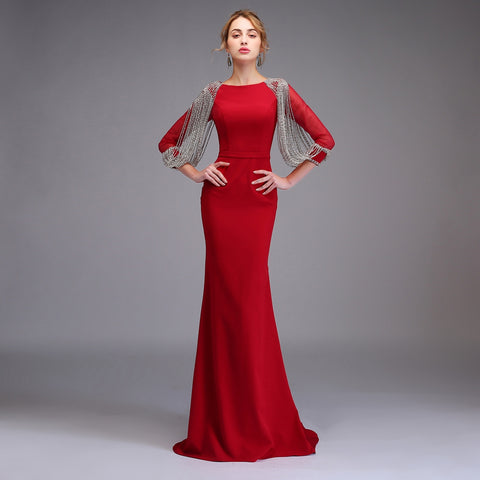 New High-end Mermaid Evening Dress The Banquet Elegant Wine Red Long Sleeved Tassel Fishtail Prom Party Gowns