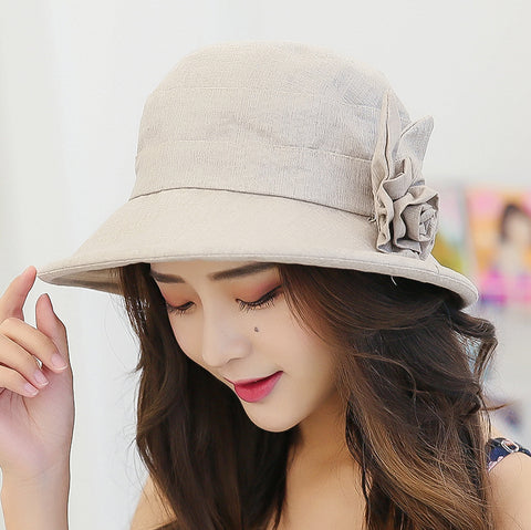 Summer Hat with Floral Decoration - Love to Accessories Collection - BETTIKE.com