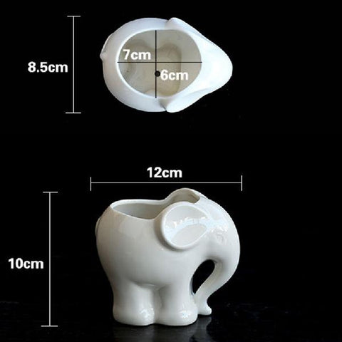 Animals Ceramic Flower Pot Cute Elephant Succulent Flower Planter Pot - BETTIKE.com