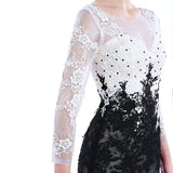 Black with White Couture Evening Dress - Love Bettike Collection - BETTIKE.com