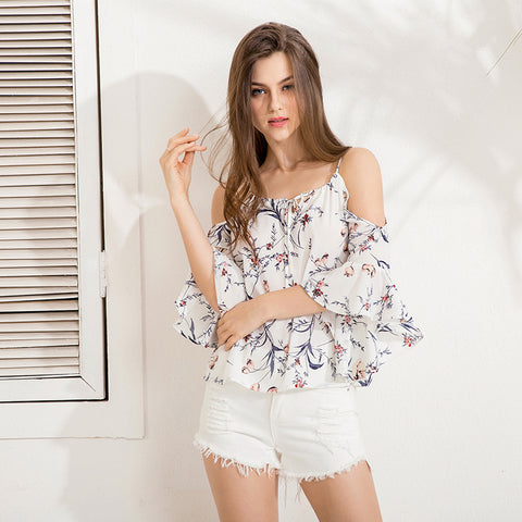 Spring Fashion Butterfly Sleeve Floral Print Sexy Blouse