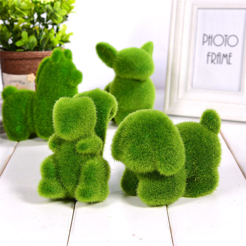 Lovely Animal Shape Simulation Green Grass Ornaments Decoration For Home Garden