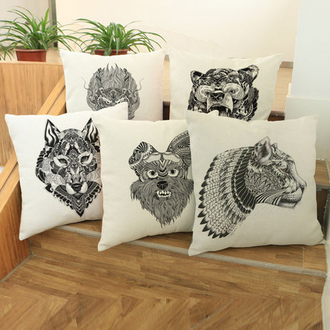 Creative modern simple black and white beast tattoo pattern Cushion Cover 45*45 - BETTIKE.com