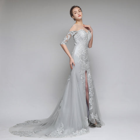 New High-end Lace Mermaid Evening Dress The Banquet Elegant Grey Appliques Beading Fishtail Party Formal Gown