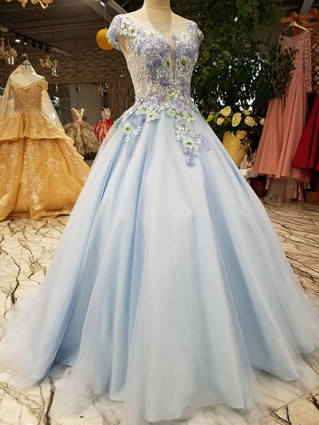 New Luxury Prom Dress Fresh Light Blue Lace Embroidery A-line Floor-length Banquet Elegant Evening Party Gown