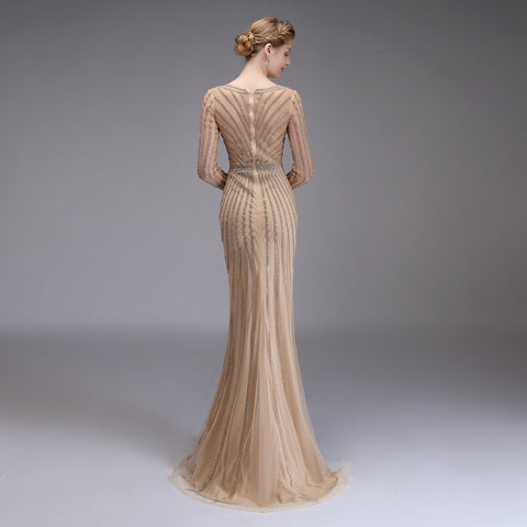 New High-end Evening Dress Luxury Banquet Bling Bling Gold Full Sequins Long Sleeved Mermaid Prom Party Formal Gown
