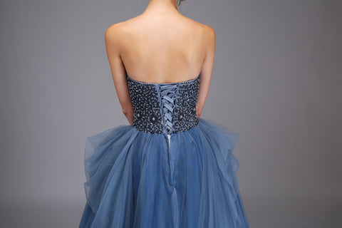 New Luxury Evening Dress High-end Sexy Strapless Floor-length Grey Blue Beading Formal Party Gown