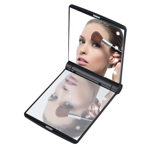 Foldable Makeup Mirrors Lady Cosmetic Hand Folding Portable Compact Pocket Mirror 8 LED Lights