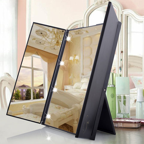 Tri-Fold Makeup Mirror with LED Light Portable Travel Compact Pocket Mirrors Travel Fold Cosmetic Mirror