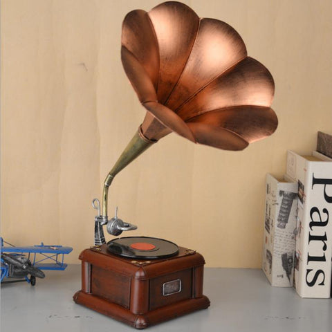 Metal Vintage Gramophone Sculpture/statue Vintage Record Player