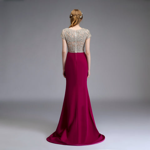 High-end Custom Evening Dress Luxurious Purple Banquet Beading V-neck Sexy Mermaid Prom Party Gown