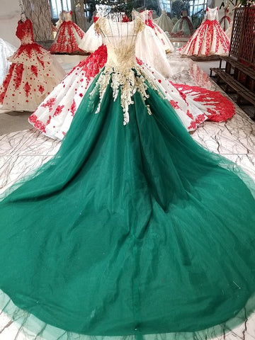 New High-end Green Lace Evening Dress Luxury Vintage Embroidery Beading Court Train Prom Party Gown