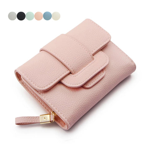 Women Wallet Solid Color PU Leather Zipped Coin Purse Fold Card Holder Ladies Clutch