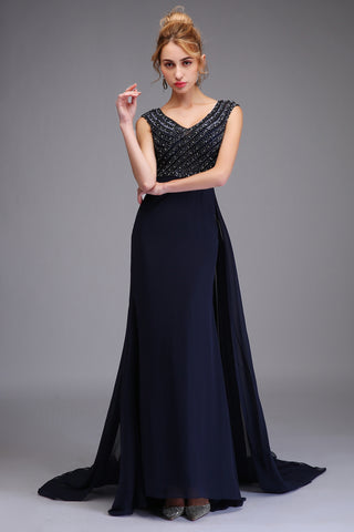 New High-end Evening Dress Luxury Banquet Navy Blue Beading Mermaid Party Gown Custom Fishtail Formal Dress
