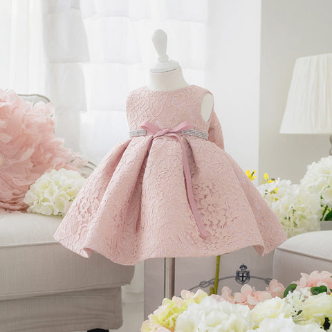 Newborn Baby Girl Dress with Cap Super Back Bow Diamond Belt - Baby Christening Gowns birthday dress